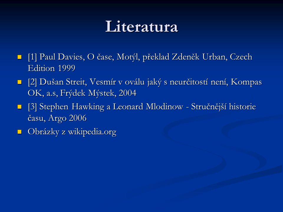 Literatura [1] Paul Davies, O čase, Motýl, překlad Zdeněk Urban, Czech Edition 1999.